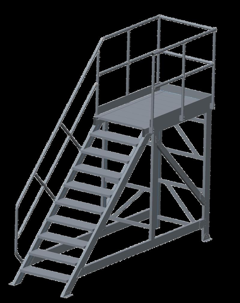 Vast opgesteld werkbordes met trap 45 graden